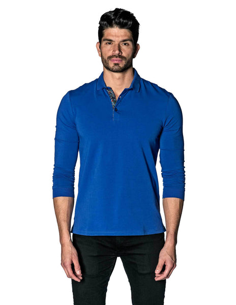 Royal Blue Long Sleeve Polo for Men PL-3063 front