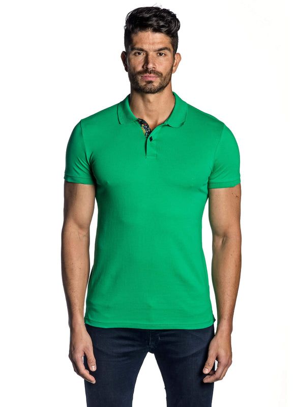 Green Short Sleeve Polo for Men - Front PS-6000 - Jared Lang