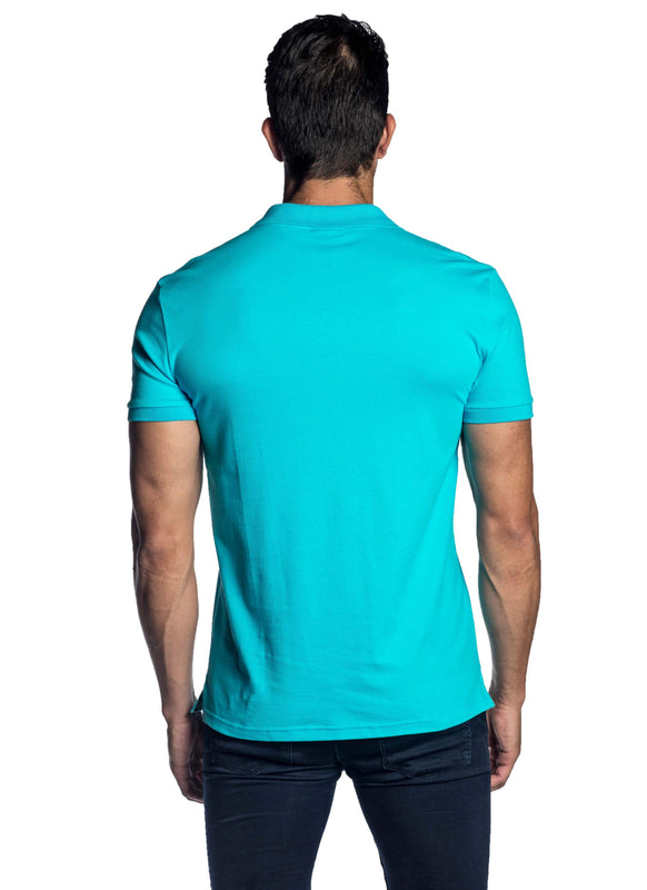 Turquoise Short Sleeve Men's Polo Shirt for Men - Back PS-6002 - Jared Lang