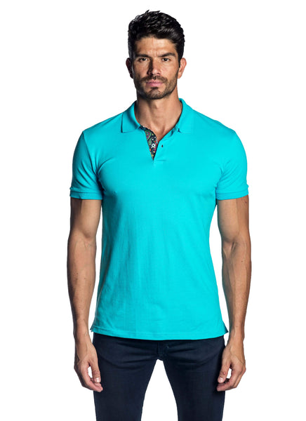Turquoise Polo Short Sleeve - front PS-5002 - Jared Lang