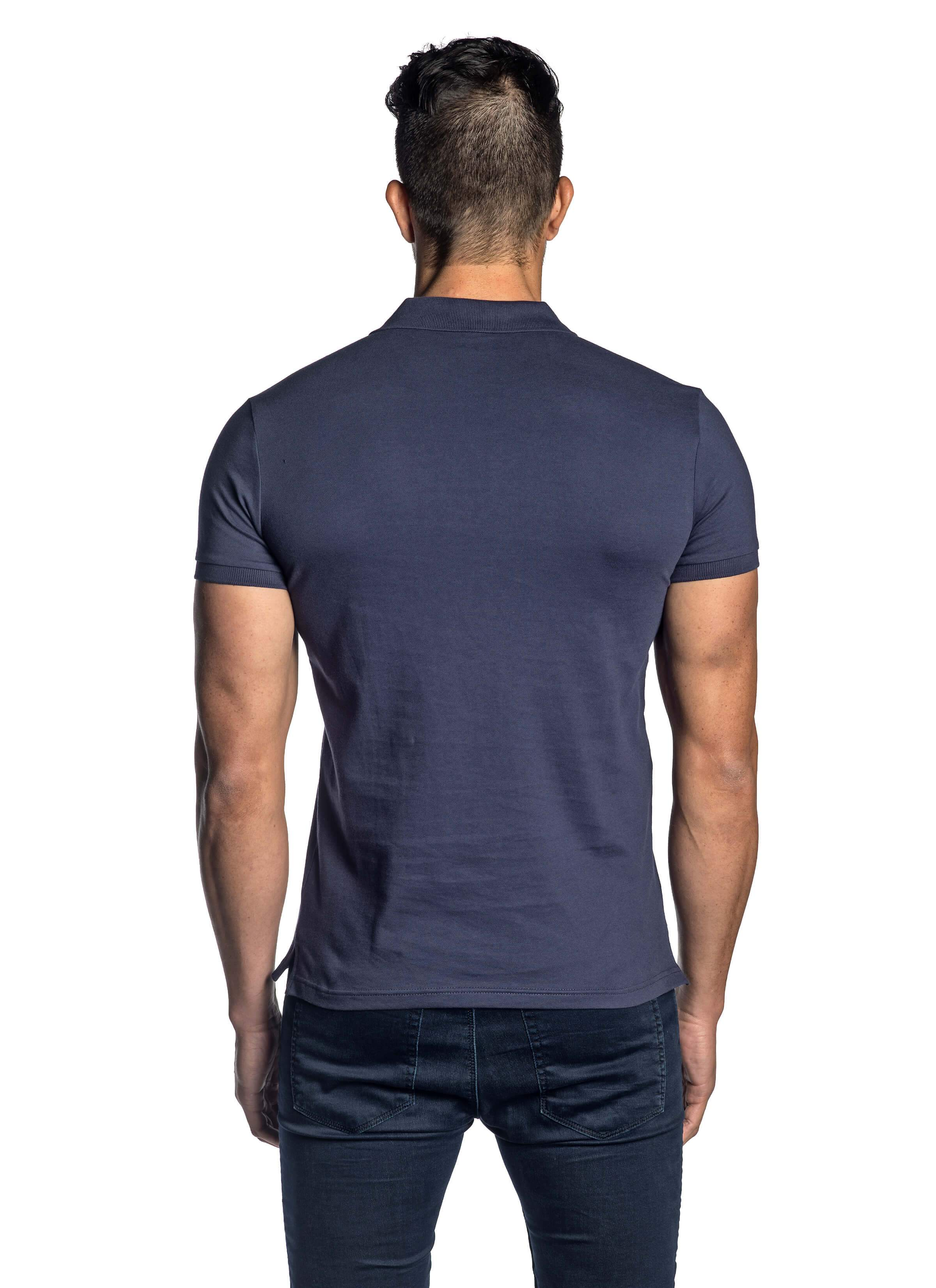 Navy Short Sleeve Polo for Men - back - PS-5008 - Jared Lang