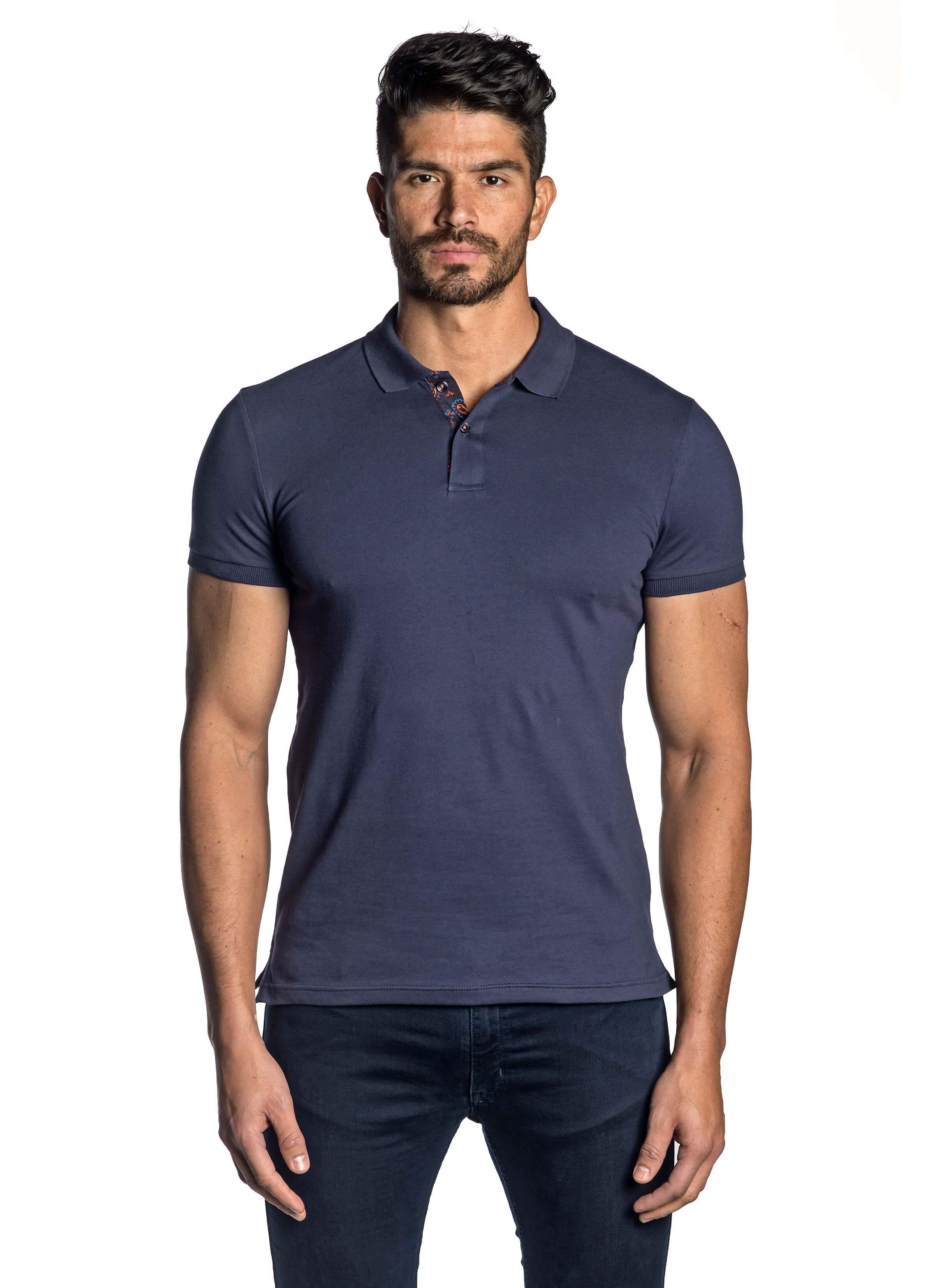 Navy Short Sleeve Polo for Men - front - PS-5008 - Jared Lang