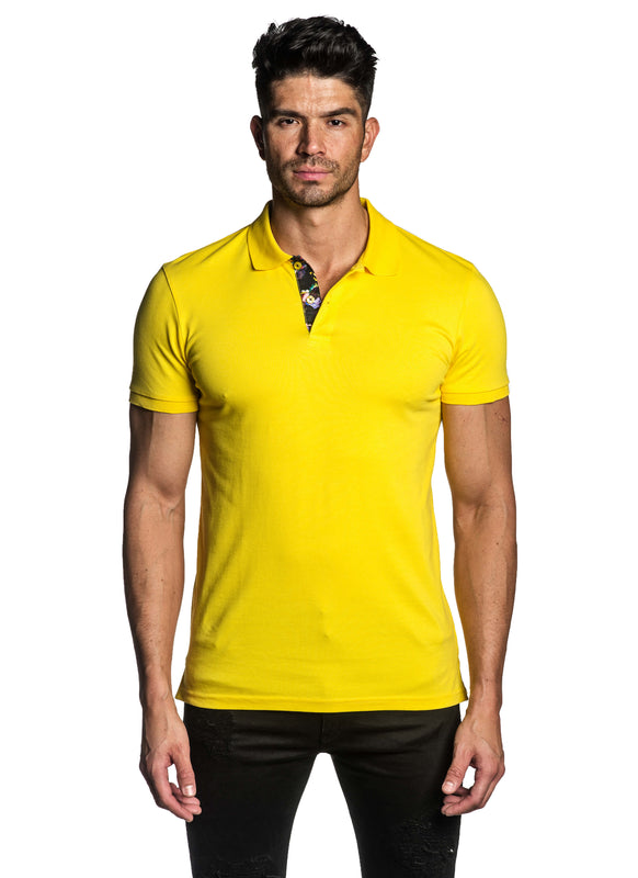 Yellow Short Sleeve Polo for Men - Front PS-600 - Jared Lang