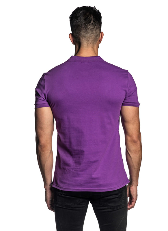Purple Short Sleeve Polo for Men - - Back Back PS-601 - Jared Lang