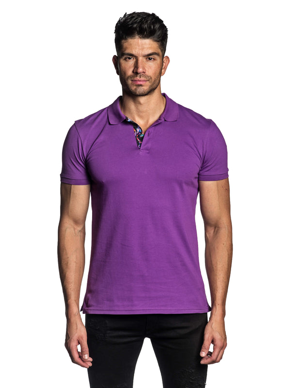 Purple Short Sleeve Polo for Men - Front PS-601 - Jared Lang