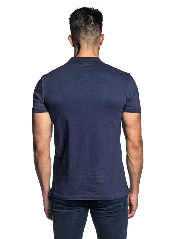 Navy Short Sleeve Polo for Men - Back PS-604 - Jared Lang