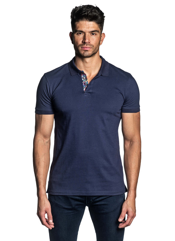 Navy Short Sleeve Polo for Men - Front PS-604 - Jared Lang