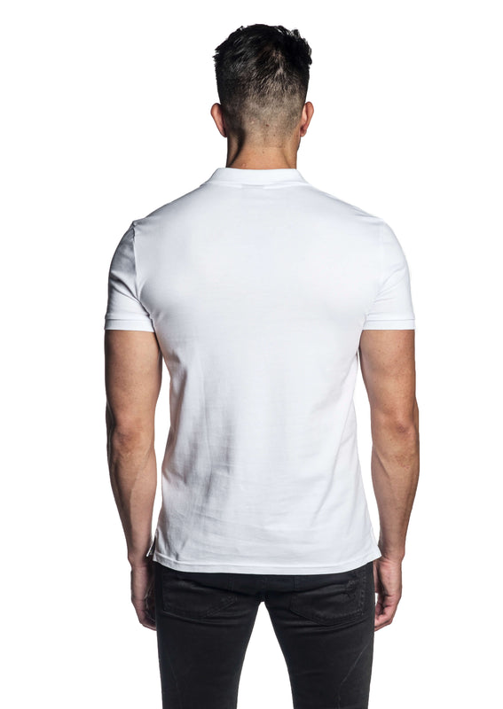 White Short Sleeve Polo for Men - Back PS-605 - Jared Lang