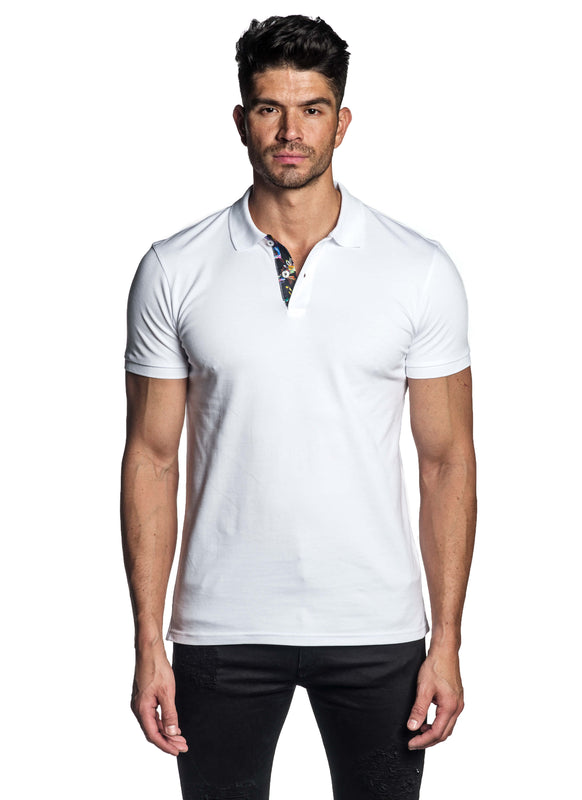 White Short Sleeve Polo for Men - Front PS-605 - Jared Lang
