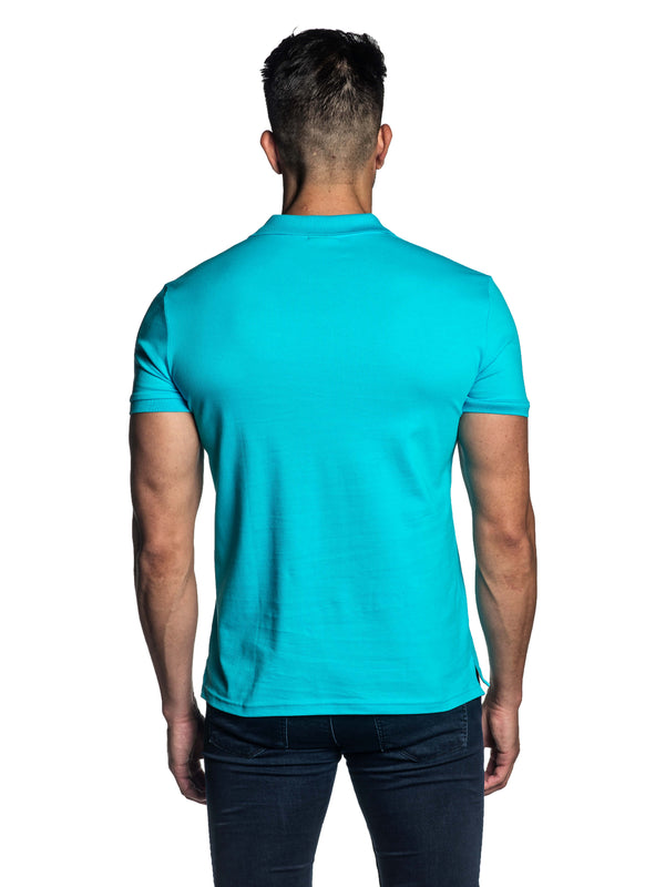 Turquoise Short Sleeve Polo for Men - Back PS-607 - Jared Lang