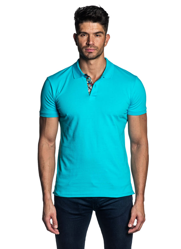 Turquoise Short Sleeve Polo for Men - Front PS-607 - Jared Lang