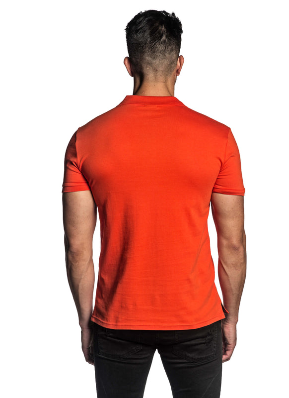 Orange Short Sleeve Polo for Men - Back PS-608 - Jared Lang