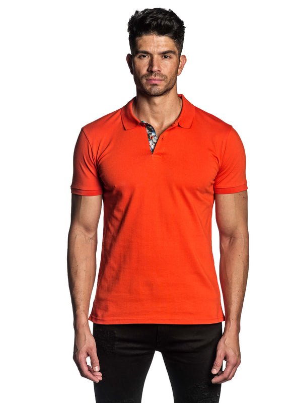 Orange Short Sleeve Polo for Men - Front PS-608 - Jared Lang