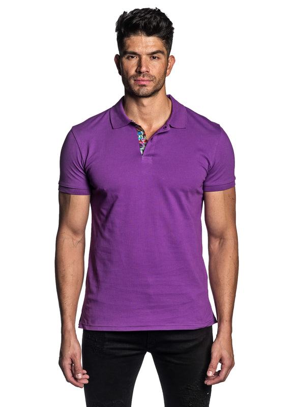 Purple Short Sleeve Polo for Men - Front PS-610 - Jared Lang