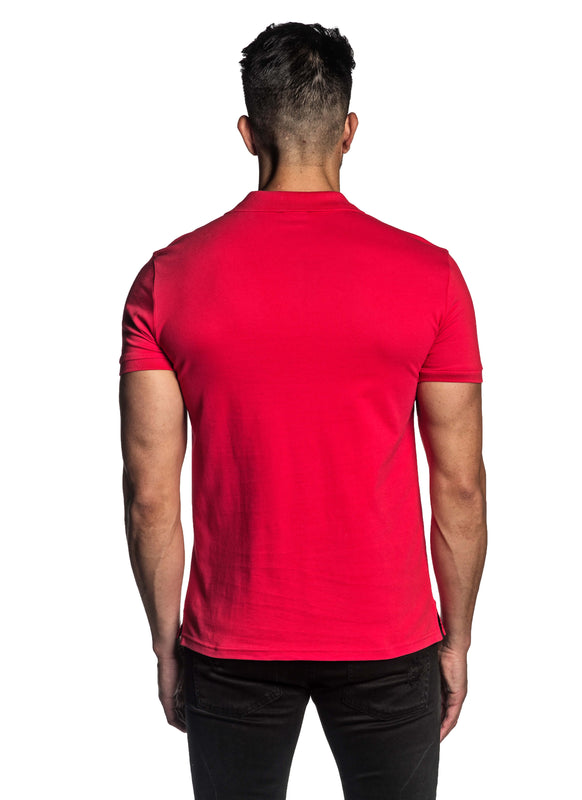 Red Short Sleeve Polo for Men - Back PS-612 - Jared Lang