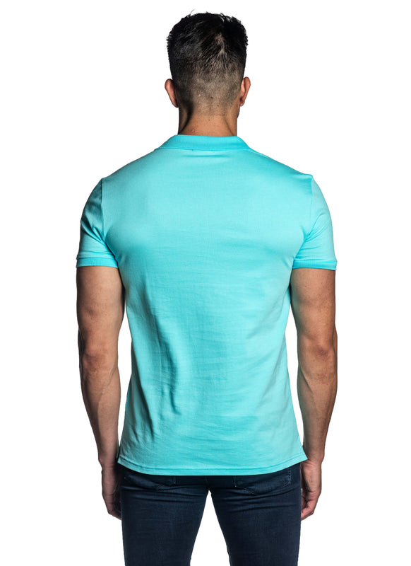 Turquoise Short Sleeve Polo for Men - Back PS-616 - Jared Lang