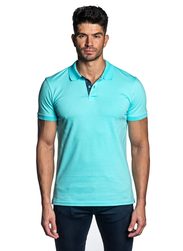 Turquoise Short Sleeve Polo for Men - Front PS-616 - Jared Lang