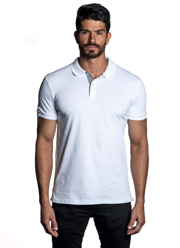 White Short Sleeve Polo for Men - Front PS-6011 - Jared Lang