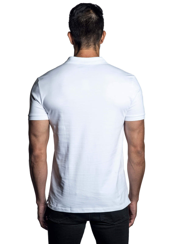 White Short Sleeve Polo for Men - Back PS-6011 - Jared Lang