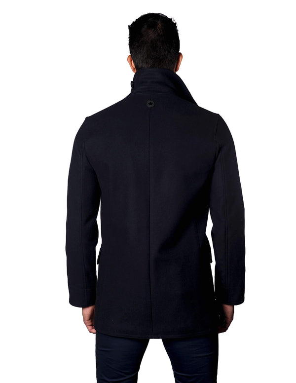 Wool Navy Double Breasted Men's Peacoat Jacket - Seattle 1B - Back - Jared Lang