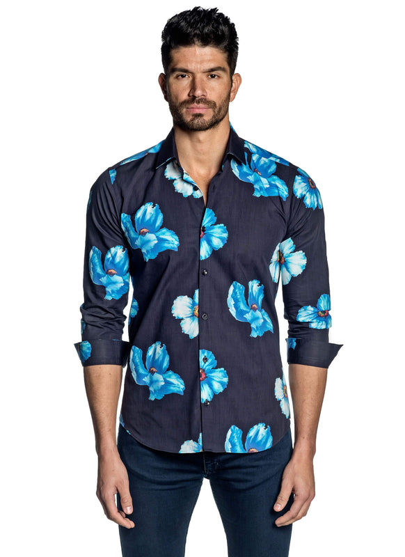 Navy Blue Floral Shirt for Men T-128 - Front - Jared Lang