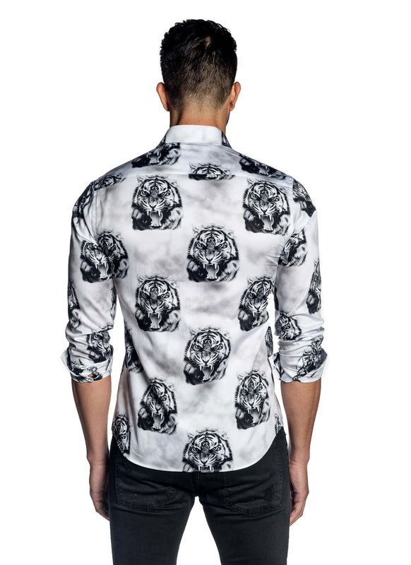 White Tiger Print Art Basel Shirt for Men T-139
