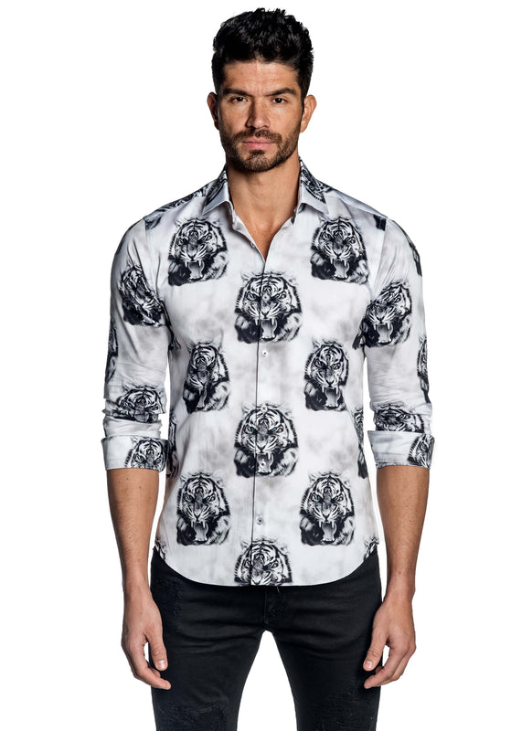 White Tiger Print Art Basel Shirt for Men T-139 - Jared Lang
