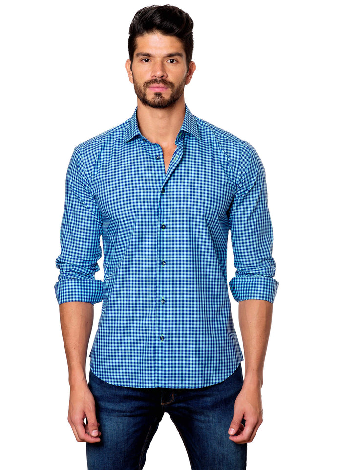 Turquoise and Blue Gingham Shirt for Men - front T-13 - Jared Lang