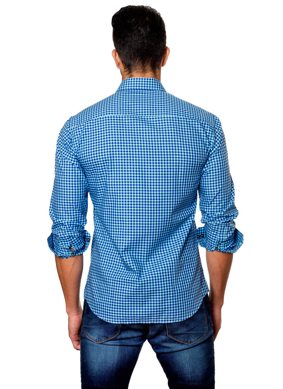 Turquoise and Blue Gingham Shirt for Men T-13 - Back - Jared Lang