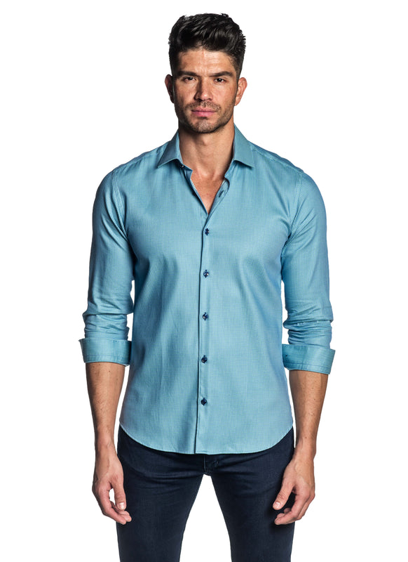 Turquoise Jacquard Shirt for Men T-142 - Front -Jared Lang