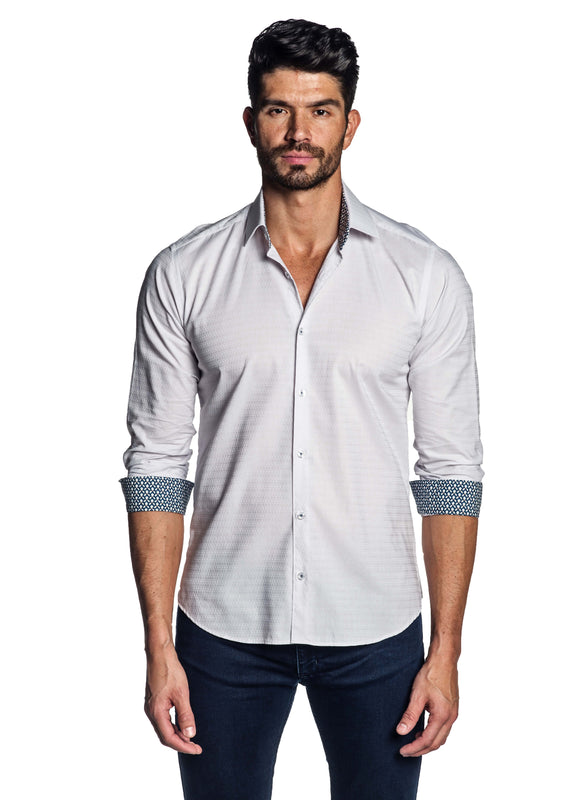 White Solid Shirt for Men T-154 - Front - Jared Lang