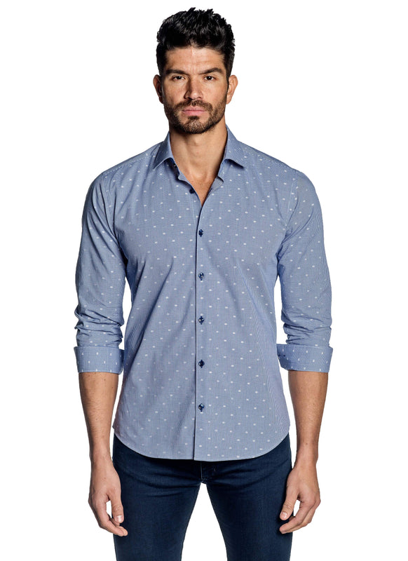 Blue Gingham Shirt for Men T-160 - Front - Jared Lang