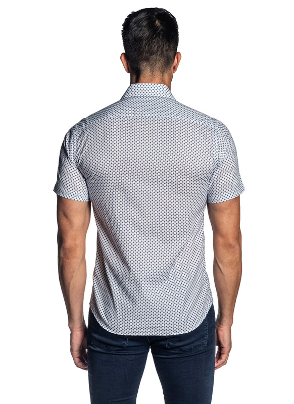 White Navy Micro Print Shirt for Men T-175SS - Jared Lang