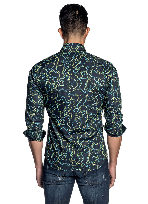 Dark Navy Print Shirt for Men T-179 - Back - Jared Lang
