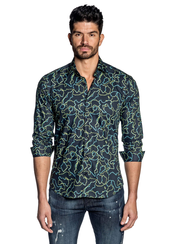 Dark Navy Print Shirt for Men T-179 - Front - Jared Lang