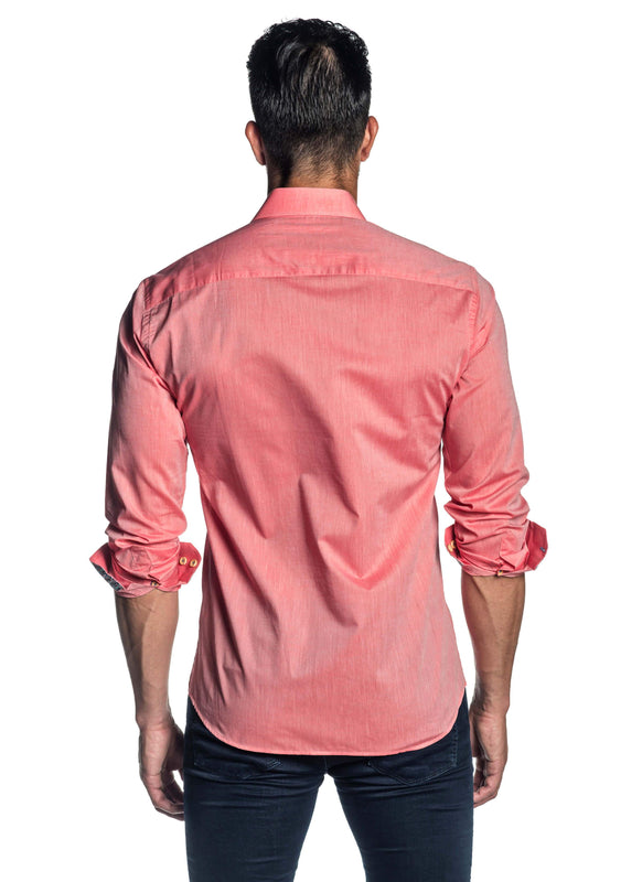 Salmon Solid Shirt for Men T-1814 - Back - Jared Lang