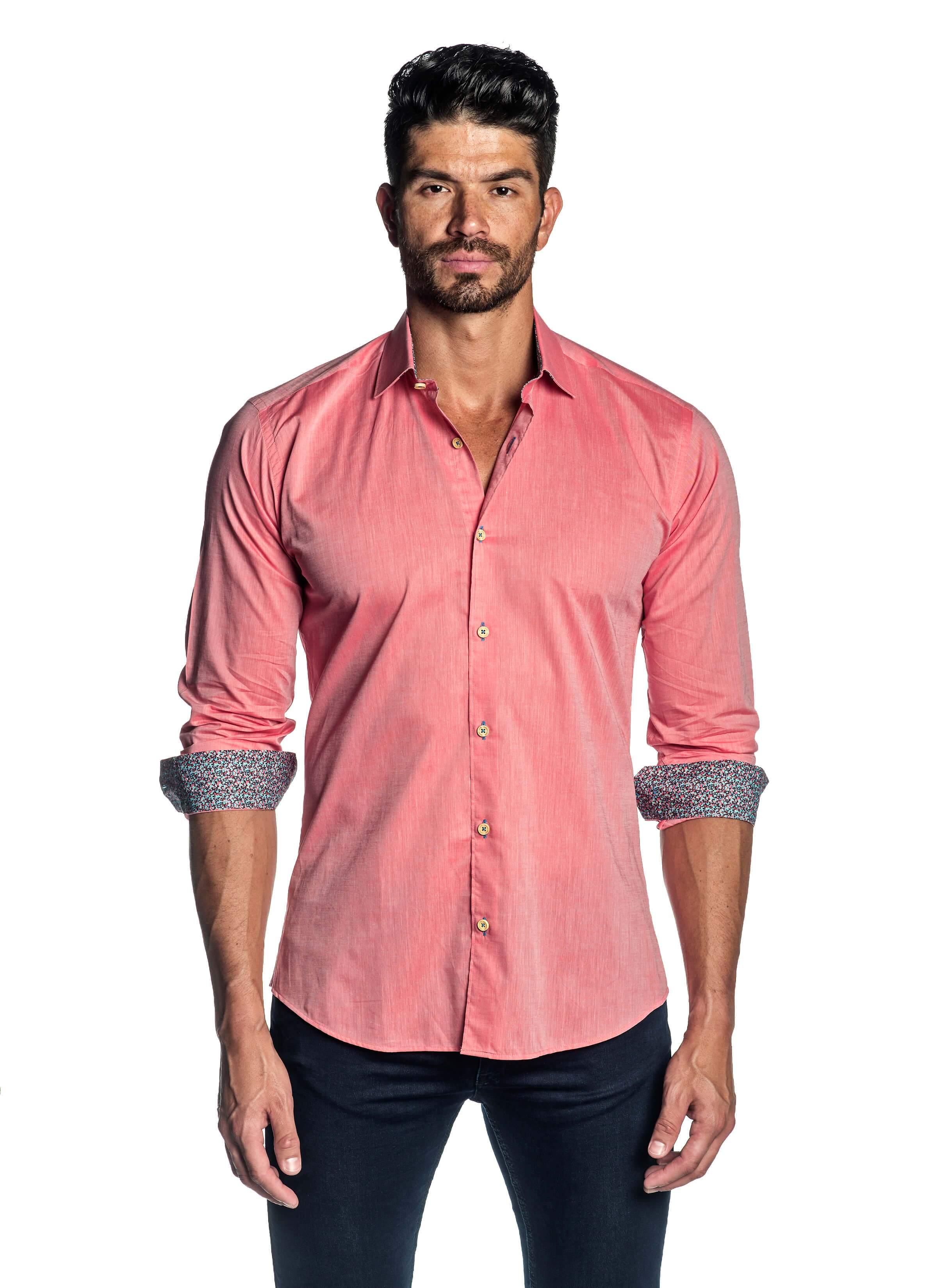 Buy Mens Salmon Solid Shirt With Microprint Trim T 1814 Jared Lang