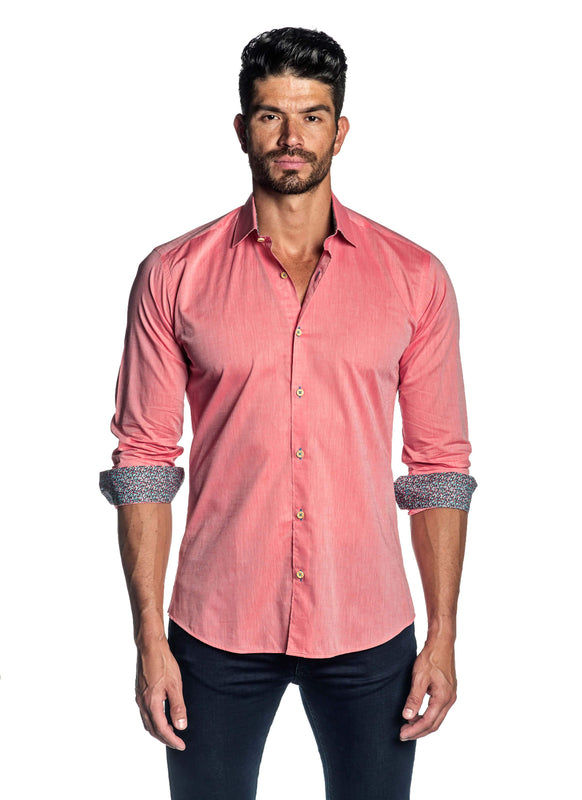 Salmon Solid Shirt for Men T-1814 - Front - Jared Lang