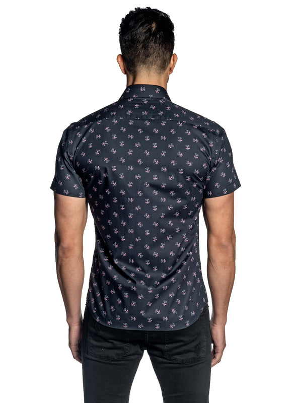 Black Cocktail Print Short Sleeve Shirt for Men T-181SS - Jared Lang