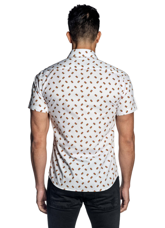 White Pop Art Basel Short Sleeve Shirt for Men T-183SS - Back - Jared Lang