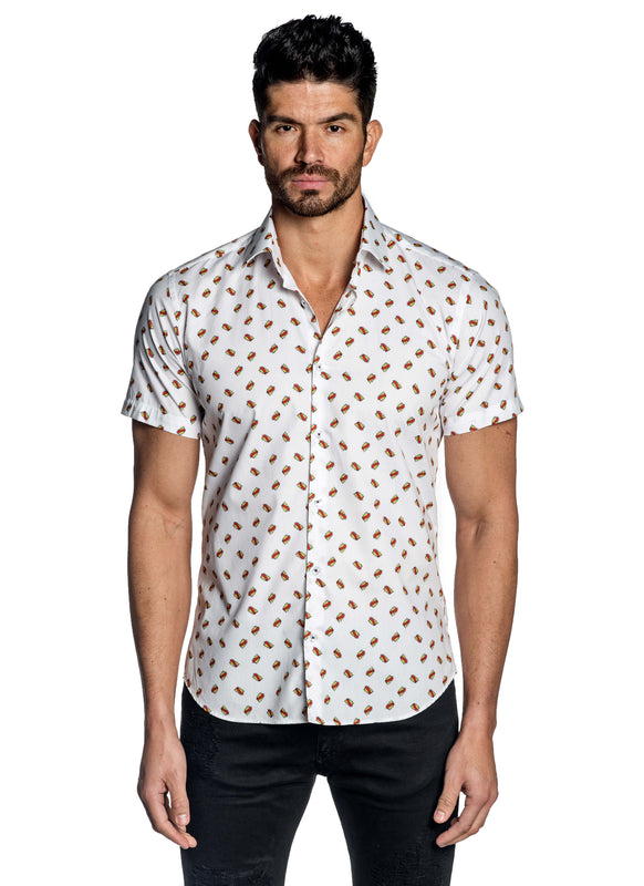 White Pop Art Basel Short Sleeve Shirt for Men T-183SS - Front - Jared Lang
