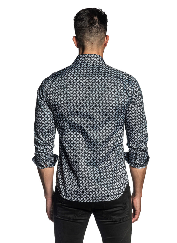 Black White Geometric Print Shirt for Men T-190 - Back - Jared Lang