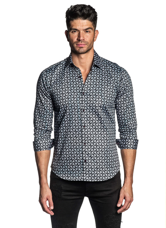 Black White Geometric Print Shirt for Men T-190 - Front - Jared Lang