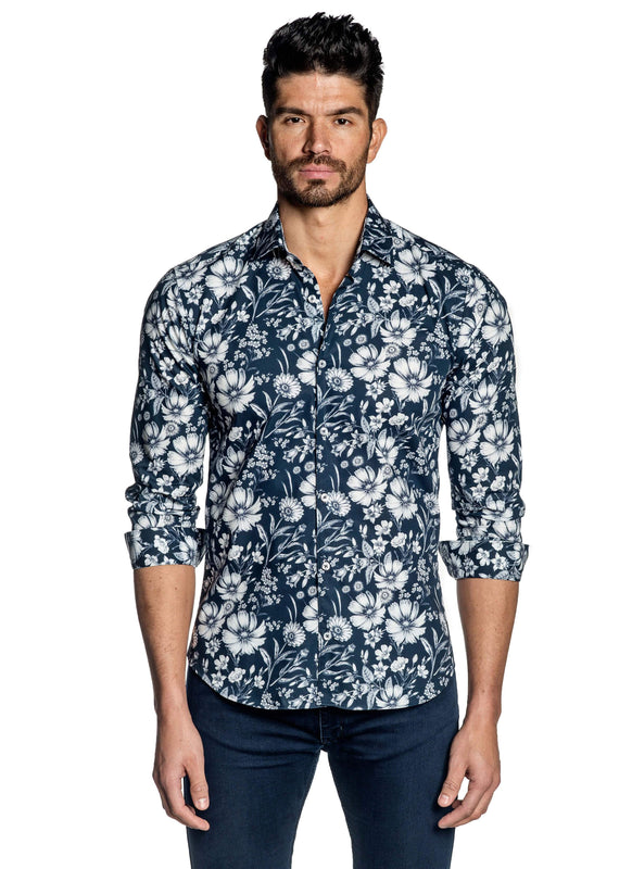 Blue Floral Print Shirt for Men T-195 - Jared Lang