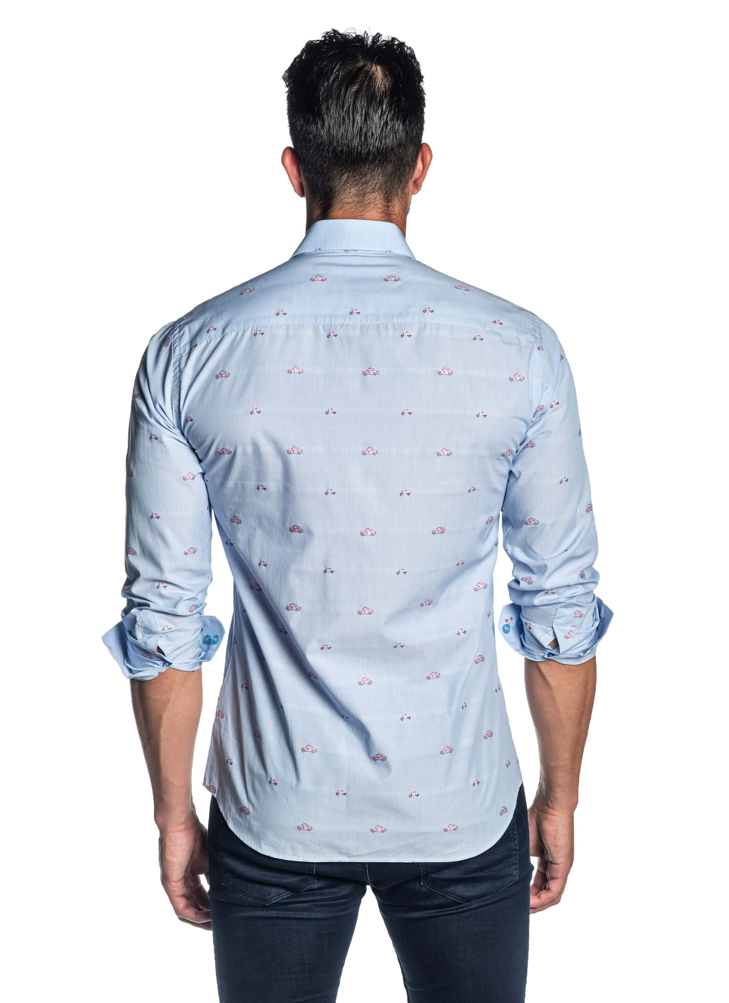 Light Blue and Pink Embroidered Cars and Scooters Print Shirt for Men - Back - T-2009 | Jared Lang