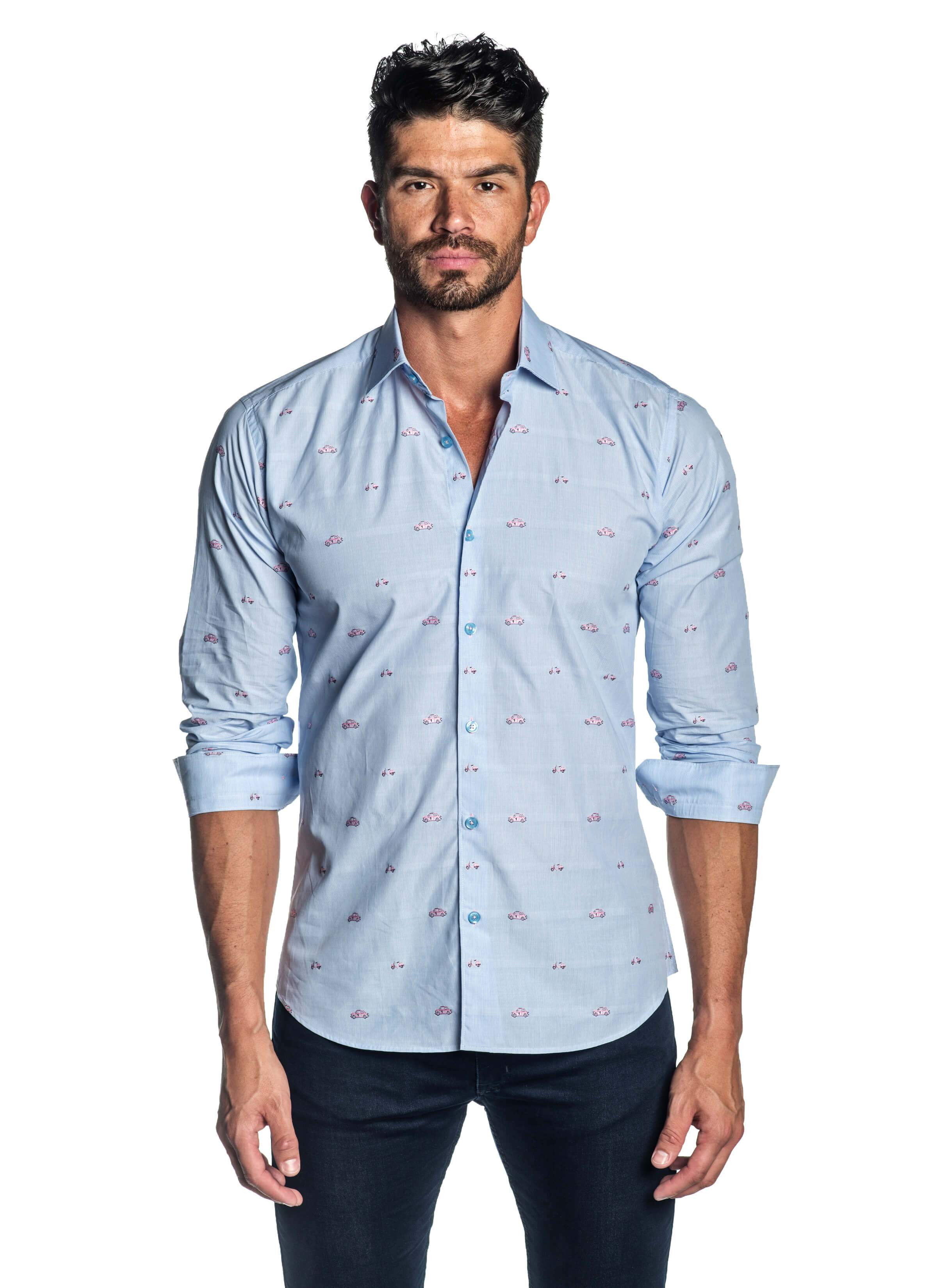 Light Blue and Pink Embroidered Cars and Scooters Print Shirt for Men - Front - T-2009 | Jared Lang