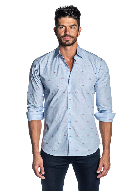 Light Blue Pink Embroidered Printed Shirt for Men T-2009 - Jared Lang
