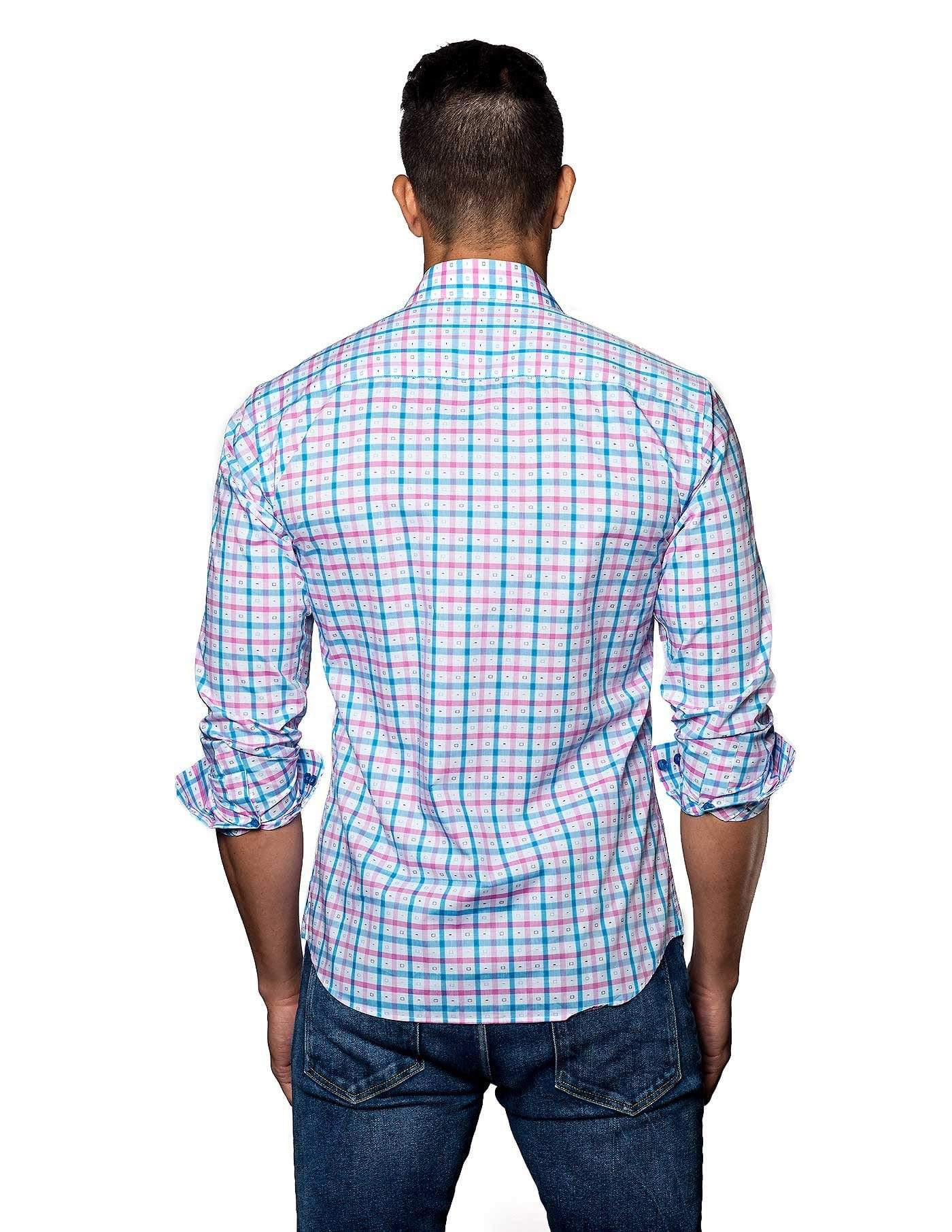 White, Blue and Pink Check Shirt for Men- back T-2010 - Jared Lang