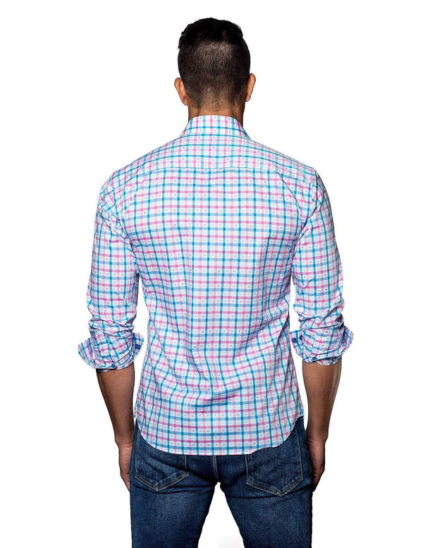 White, Blue and Pink Check Shirt for Men T-2010 - Back - Jared Lang