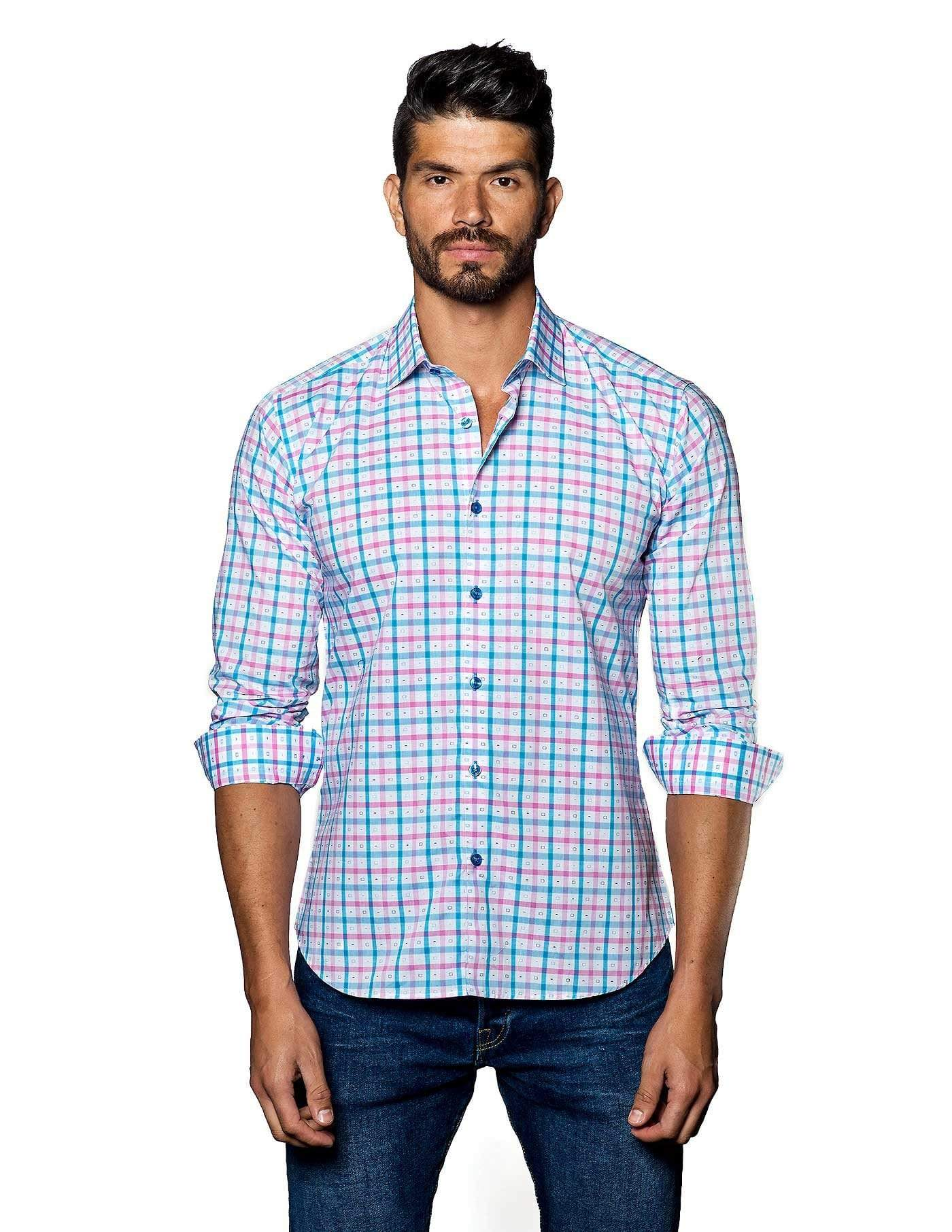 White, Blue and Pink Check Shirt for Men- front T-2010 - Jared Lang